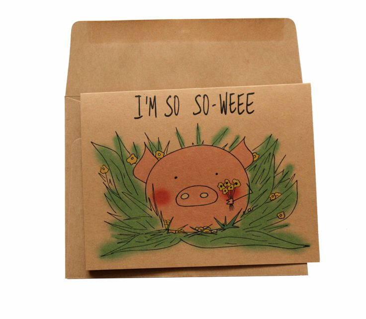 I'm sorry card - funny apology card - im sorry card puns - punny apology card - i'm sorry card for girlfriend - pig im sorry card cheer up by MashUpArt on Etsy https://www.etsy.com/listing/489800000/im-sorry-card-funny-apology-card-im