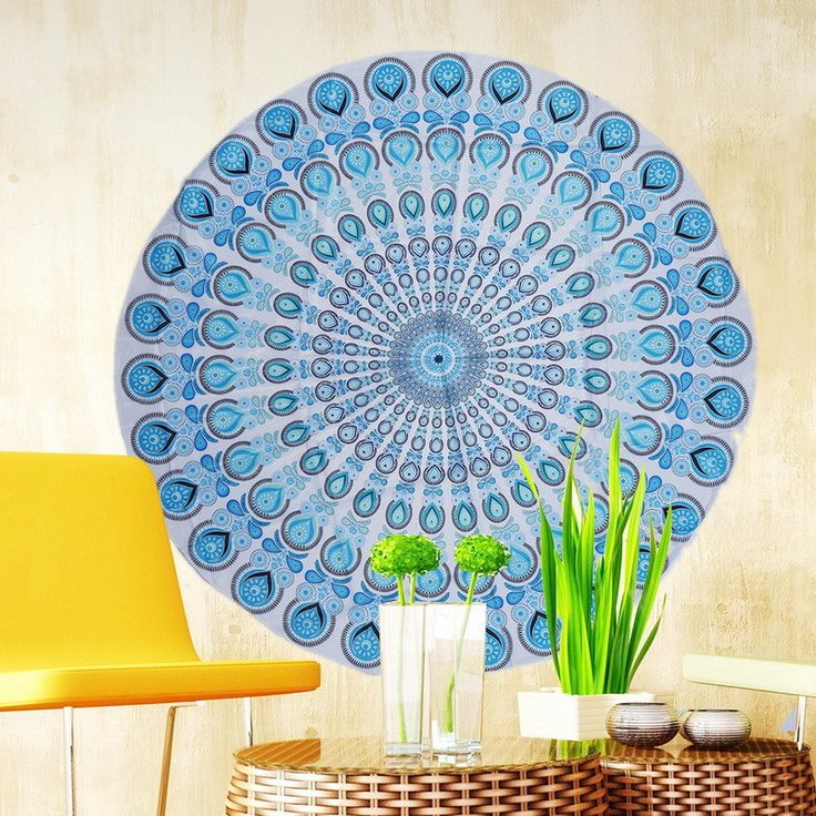 Round Flowers Beach Towel Yoga Blankets Chiffon Multi-Function Also Used as Wall Hanging Tablecloth Couch Cover Leisure Retro