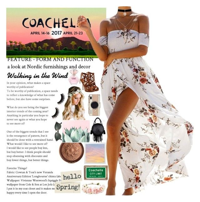 """""""🌄❇2017 Coachella Vibes✌🌅"""" by nblankenship ❤ liked on Polyvore featuring beauty, Paul Andrew, Ray-Ban, Betsey Johnson, Poncho & Goldstein, Emily Rose Flower Crowns, Physicians Formula, Forever 21 and Kate Spade"""