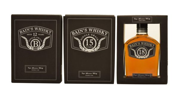 Packaging Design by Rochelle Odendaal, via Behance Boxes,Whisky box designs, 3 year variant, Bains whisky, Black boxes, Elegant look and feel, quality designs, classy, authentic feeling & proud brand
