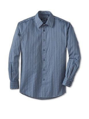 70% OFF Zagiri Men's Lithium Striped Shirt (Navy)