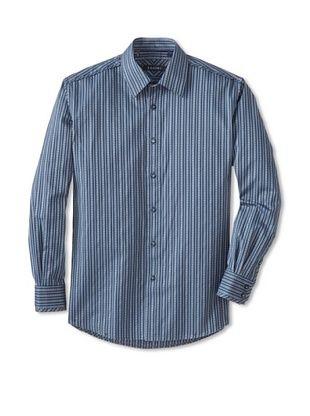 70% OFF Zagiri Men's Lithium Striped Shirt (Navy)