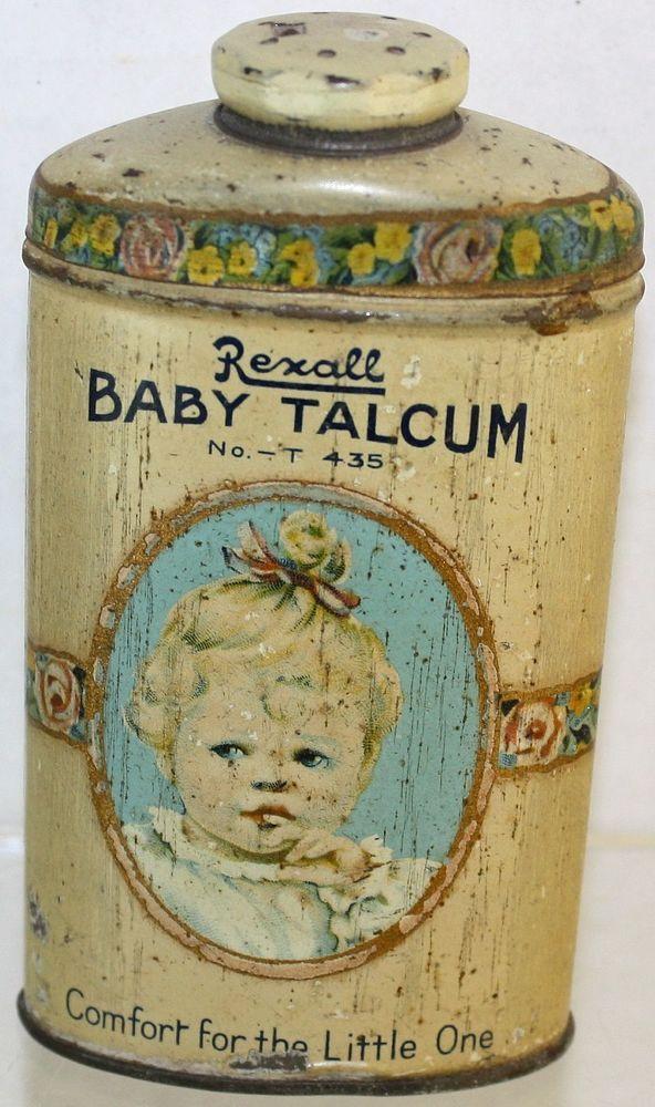 Vintage Rexall Baby Portrait 3 1/5 Oz. Baby Powder Talcum Tin Container