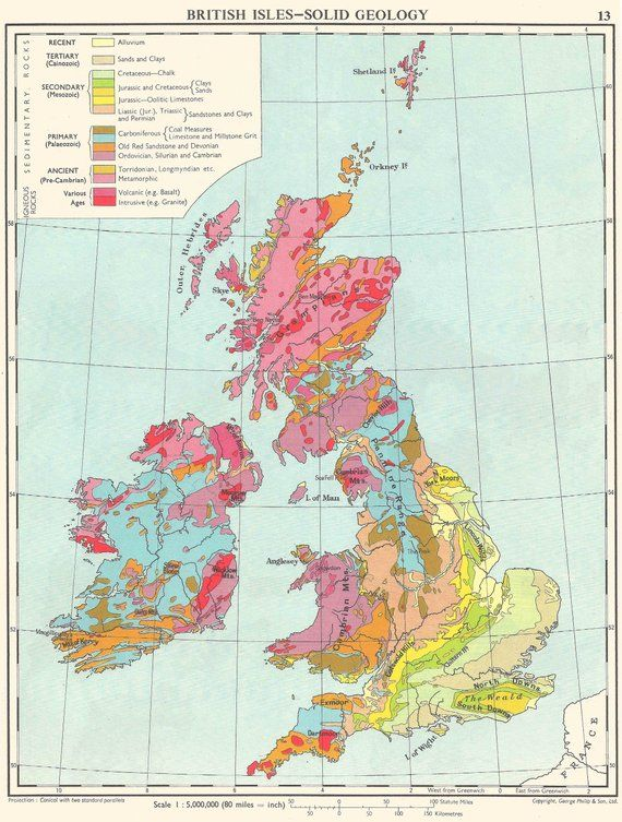 North Sea Europe Map.British Isles And North Sea Geological Map Travel Adventure Maps For