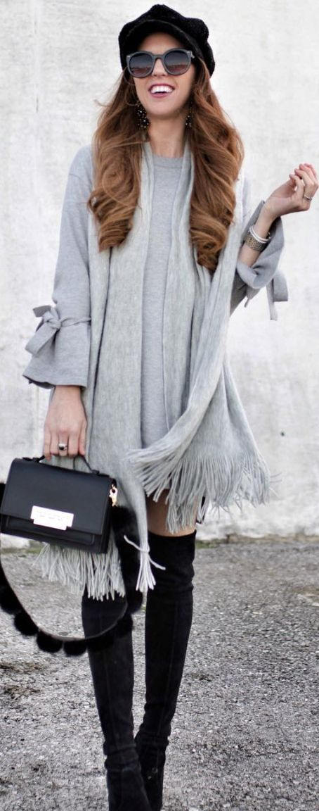 grey tie-sleeve dress