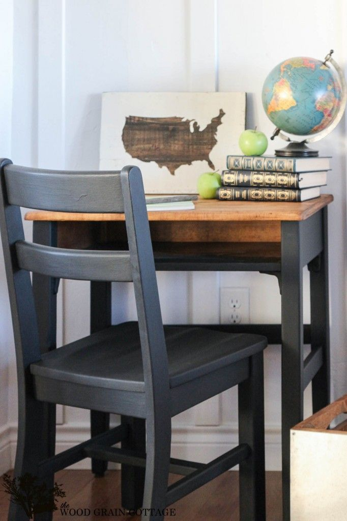 Child's Desk Makeover - The Wood Grain Cottage