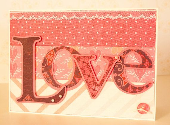 Love Card Love Die Cut Letters Pink Card by BeautyfromashesUSA