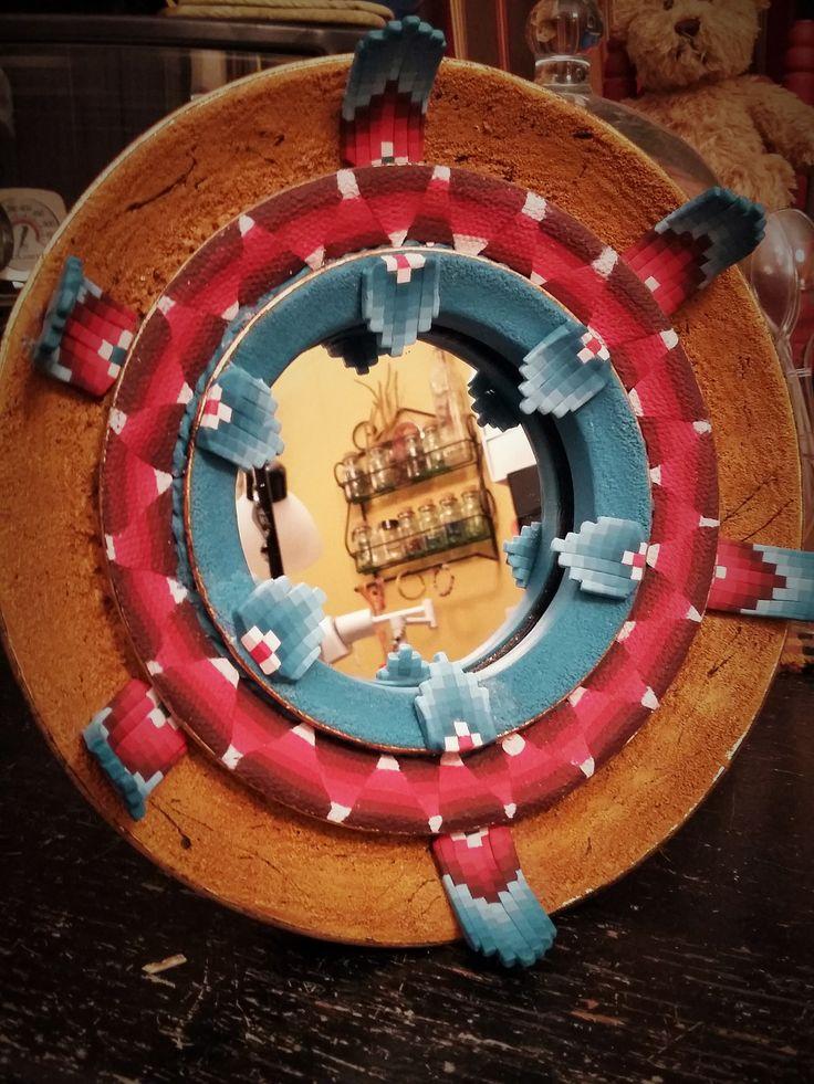 Bargello Southwestern Mirror wedding gift for nephew, V. Stewart
