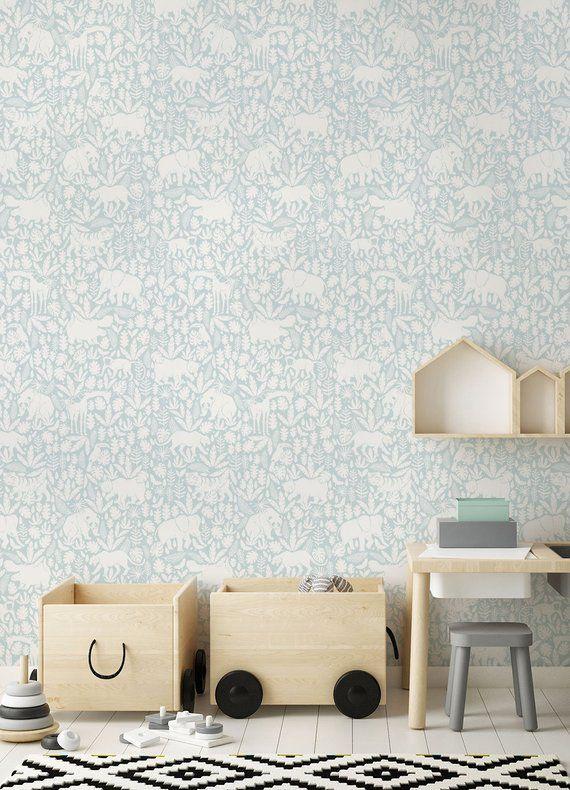 Jungle Animals Pattern Light Blue Peel Stick Fabric Etsy In 2020 Removable Wallpaper Nursery Removable Wallpaper Fabric Wallpaper