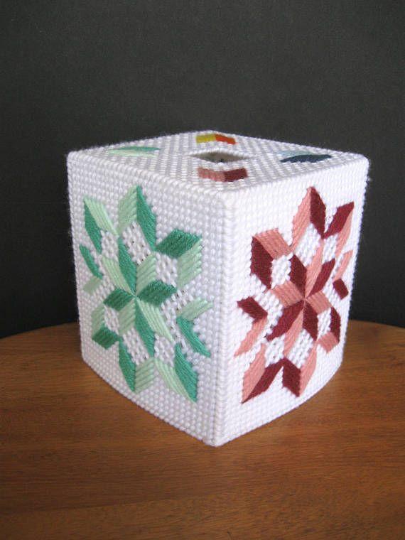 Plastic Canvas Boutique Tissue Box Cover  Quilt Design