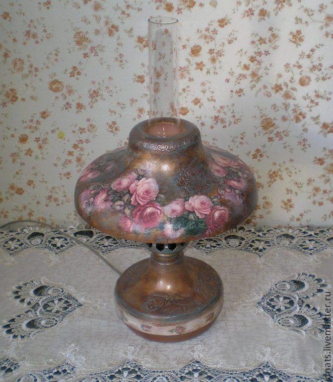 "Настольная лампа "" Розовый букет"" - лампа настольная,лампа ручной работы"