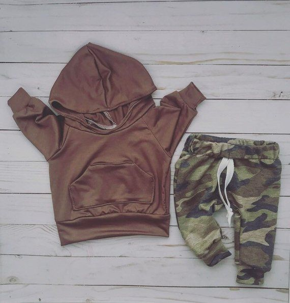 Newborn Infant Baby Boys Camo Hoodie with Pocket Sweatshirt Pants Outfits Sets