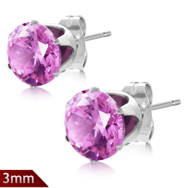 Oorbellen met strass steentjes roze Y407