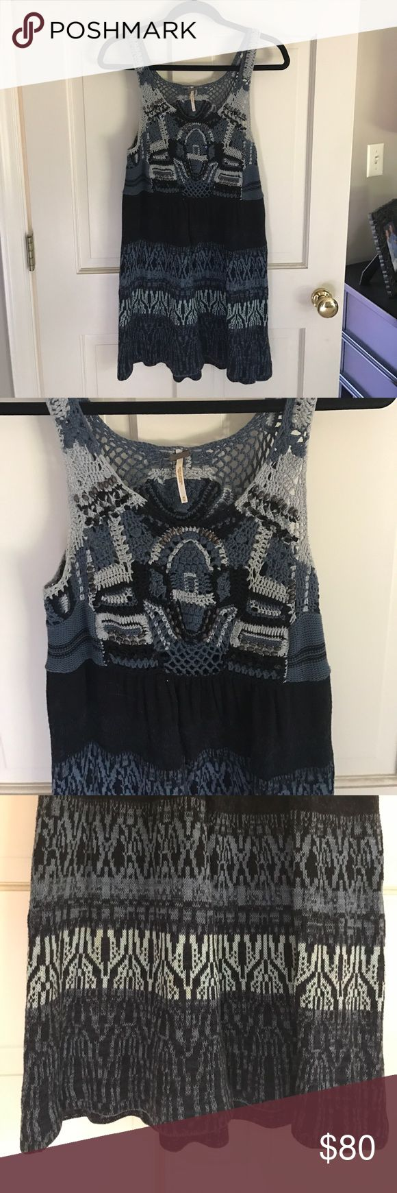 Free People Crochet Mini Dress Beautiful sweater-like material dress with beads and sequin embellishments. The color includes different variations of blue. Great condition, worn only a few times. Great casual dress! Free People Dresses Mini