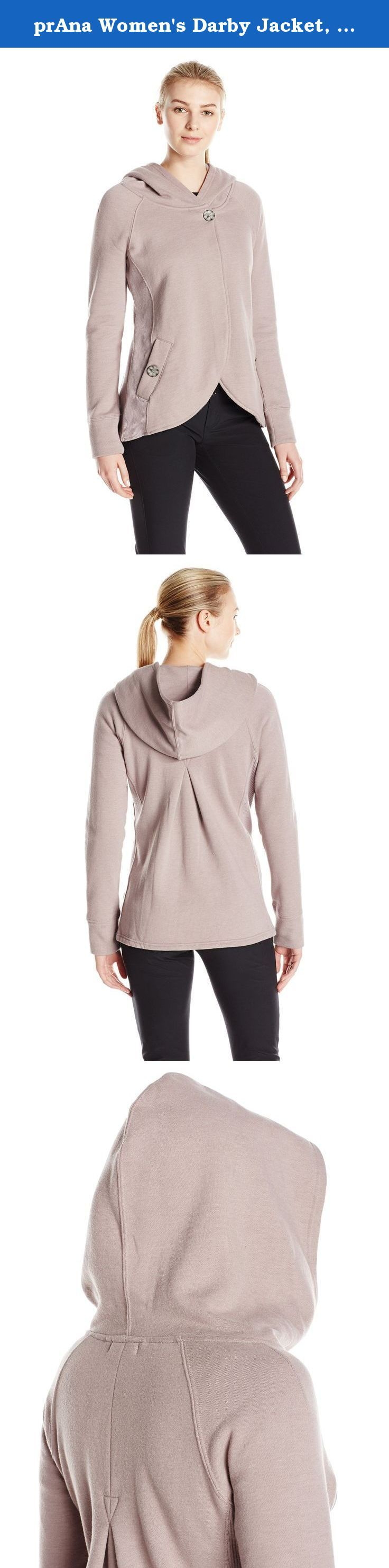 prAna Women's Darby Jacket, Malva Mauve, Small. The prAna Darby Jacket sports a stylish swing silhouette when fastened at its top button. Organic cotton blended fleece is a comfortable weight both day and night; put your hood up if it gets chilly.