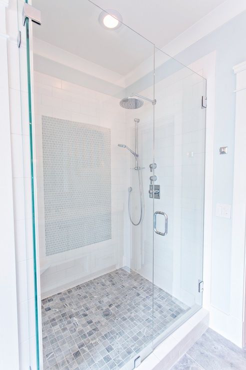 Stunning Bathroom Features A Large Walk In Shower With