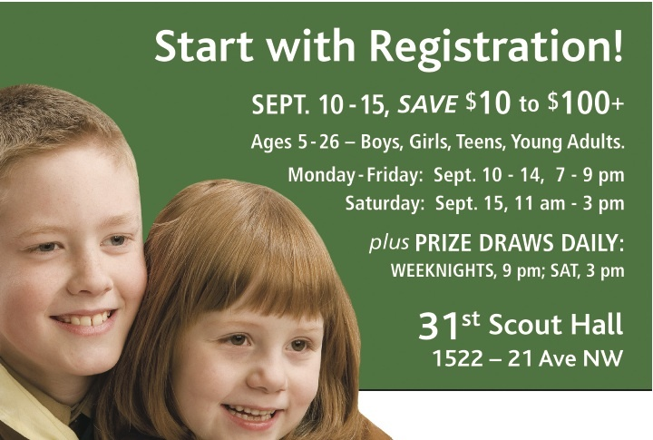 Join the 31st. Start with Registration Sept. 10 - 15.