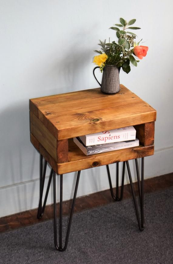 Hairpin Leg Industrial Bedside Table Delivery Possible Industrial Bedside Tables Handmade Bedside Tables Oak Wood Stain