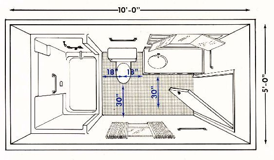 bathroom floor plans with dimensions | Full bathroom