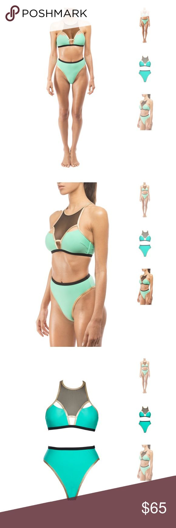 Andrea Iyamah designer teal&mesh swim halter top Totally unique and gorgeous swimsuit top by one of my favorite designers of swimwear, Andrea Iyamah. This top is a greenish teal, with black mesh and gold outlines, and has matching bottoms that you can buy online. The straps are adjustable and the halter style (with padding!) keeps everything in place :) I love this top a lot but unfortunately it's just slightly too big for me, so I never wore it.  From a clean, non-smoking home with no pets…