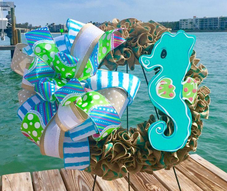 Seahorse wreath, Seahorse door hanger, Beach wreath, Beach door hanger, Seahorse decor, Seahorse decoration, Beach decor, Burlap wreath by AmeliasWreathsofJoy on Etsy