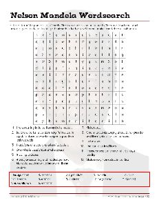 Free Nelson Mandela Vocabulary Worksheets and Puzzles #Wordsearch , #Education #Homeschool #Mandela #Freebies  #SouthAfrica