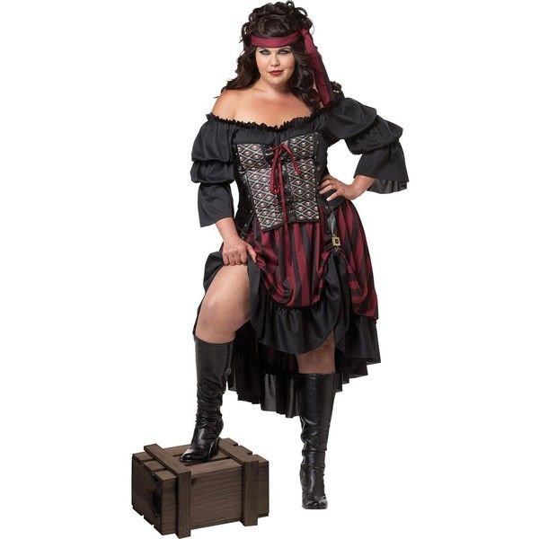 Womens Plus Size Pirate Wench Costume ($51) ❤ liked on Polyvore featuring costumes, halloween costumes, womens plus costumes, pirate maiden costume, pirate vixen costume, plus size halloween costumes and peasant costume