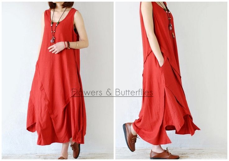 WORLDWIDE FREE SHIPPING Women Linen and Cotton Dress One Size 5 Colors Summer Dress Long dress Loose Lagenlook Fitting Vintage Style Dress by FlowersButterflies15 on Etsy