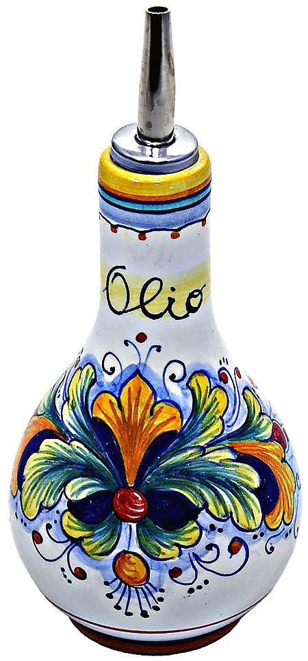 Italian Olive Oil Dispenser | Ceramic Majolica Olive Oil Dispenser Ramina 90 16cm