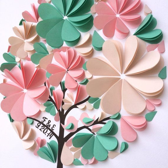 Mint and Pink Guest Book 3d heart guestbook by MioGallery
