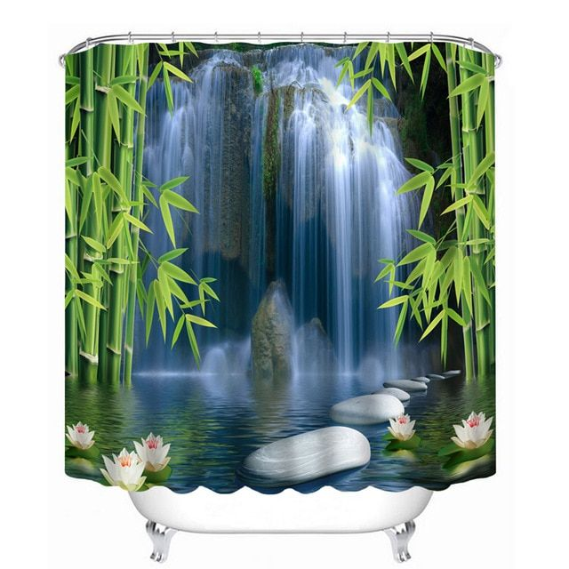 3d Pattern Shower Curtains Bamboo Lotus And Waterfall Stone