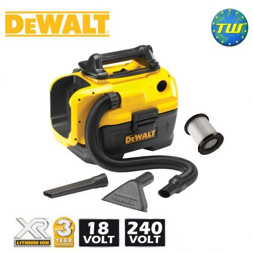 http://www.twwholesale.co.uk/product.php/section/10404/sn/DeWalt-DCV582-GB DeWalt's DCV582-GB Wet and Dry Vacuum can be used corded on a 240V mains supply or cordless with 18V or 14.4V XR Li-ion batteries (not included). Fitted with the highly efficienct and washable HEPA filter that traps 99.97% of dust as fine as 0.3 Microns the DeWalt vacuum is perfect for various work site environments.