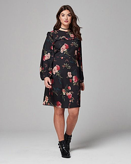 Simply Be Floral Print Dress   Simply Be