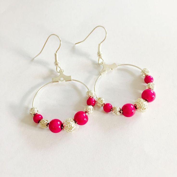 Hot Pink Miracle Bead And Filigree Hoop  Earrings , Boho , Festival Earrings #Hoop