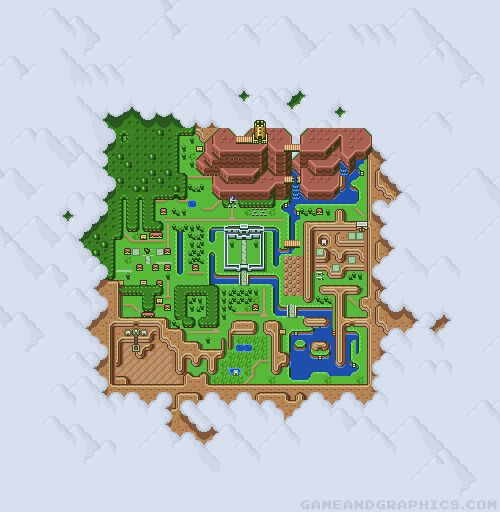 """Light World vs. Dark World"", a Zelda: A Link to the Past gif.  By Daruma Studio for Game & Graphics"
