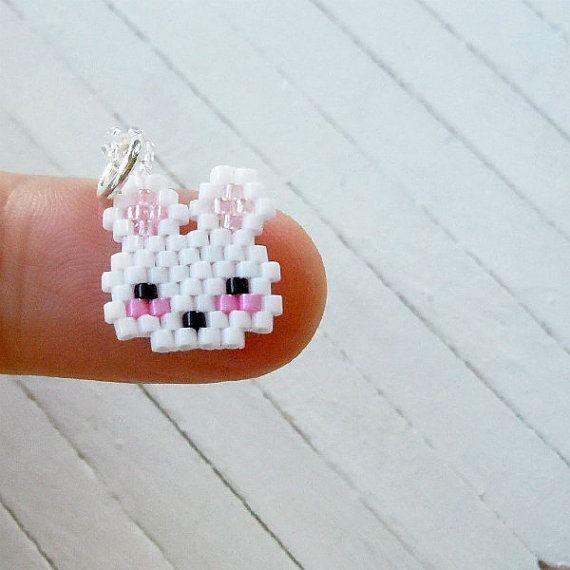 Brick-stitch beaded bunny charm