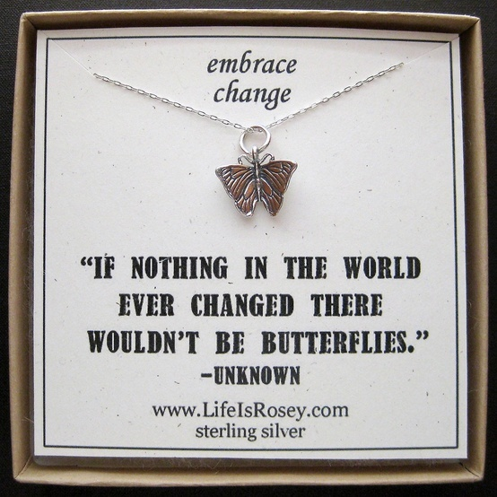 I love the saying Butterfly Charm Necklace - Butterfly Jewelry - Going Away Present - Divorce Gift - New Job Gift. $28.00
