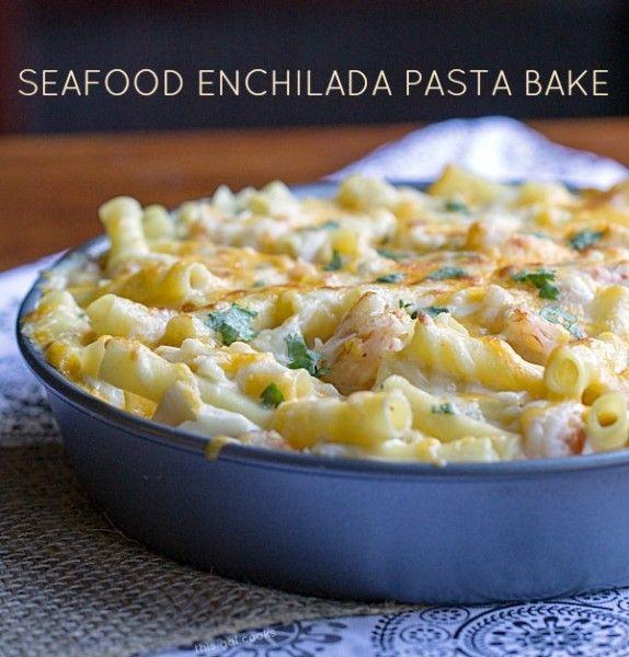Seafood Pasta Enchilada Bake - This Gal Cooks #seafood #pasta #casserole
