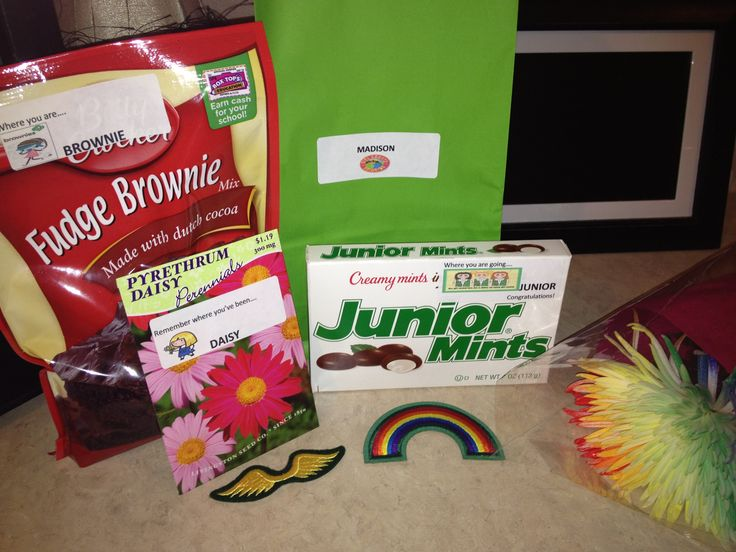 Girl Scout Brownie bridging to Junior. Daisy seeds-remember where you've been, brownie mix-where you are, Junior Mints-where you are going.