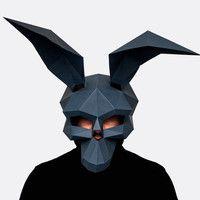 Make your own Donnie Darko Mask, Instant Pdf download, Halloween Paper Mask, Printable Mask, DIY Polygon Masks