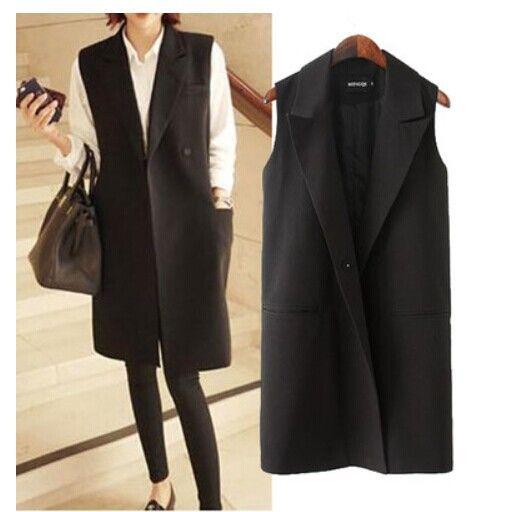 Fashion Women's Elegant Middle long Design Sleevless  Blazer Vest Waistcoat on Aliexpress
