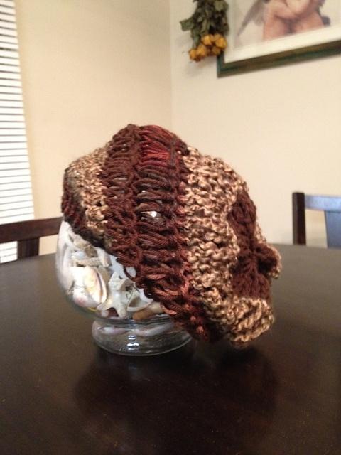 Drop Stitch Slouch hat #1 - loom knit pattern by Candace Breaux Knit patter...
