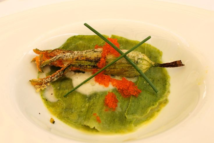 stuffed zucchini flower as part of chef fabio boschero's summer tasting menu