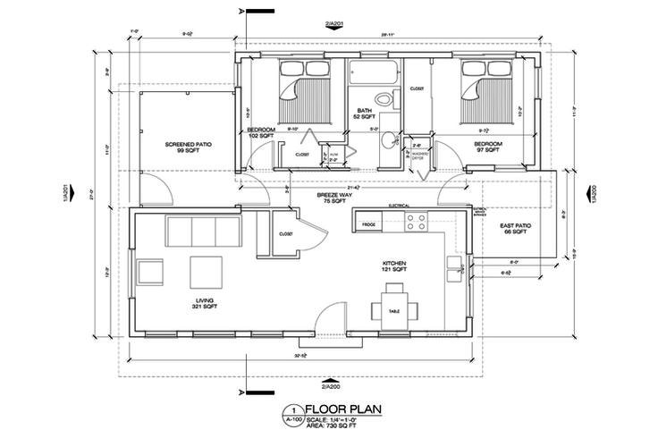 Style House Plan 2 Beds 1 Baths 730 Sq Ft Plan 486 4 Floor Plan