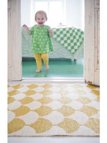 Plastique Tapis de couloir tissé plat Gerda Jaune 70x300 cm