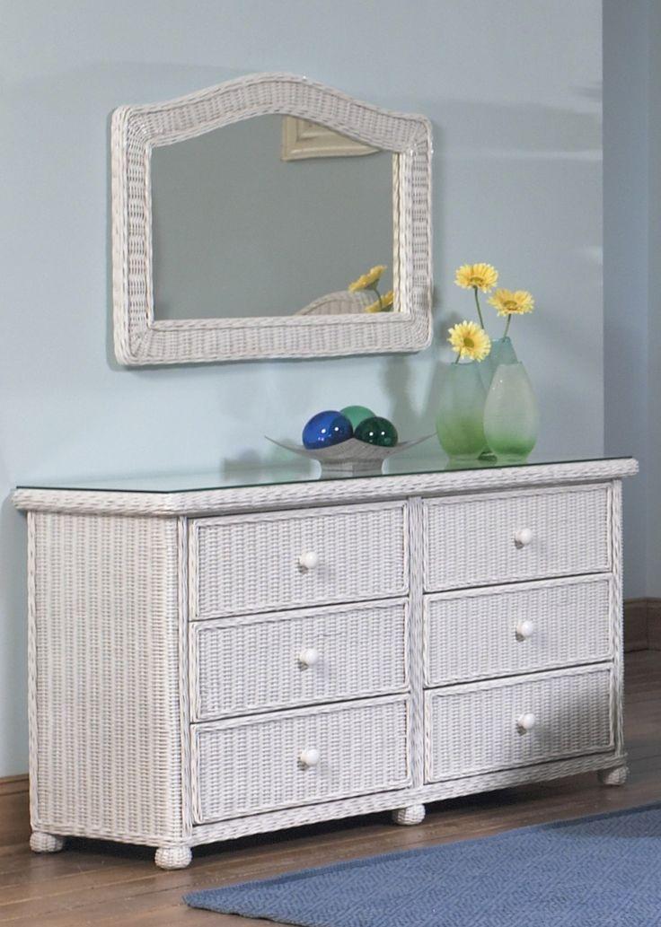 Elana Wicker 6 Drawer Dresser #white #wicker #furniture Pinned by wickerparadise.com