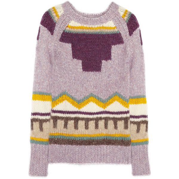 J.Crew Harmony chunky-knit sweater ($135) ❤ liked on Polyvore featuring tops, sweaters, j.crew, jumpers, lavender, lavender top, multicolor sweater, purple sweaters, intarsia sweater and colorful sweaters