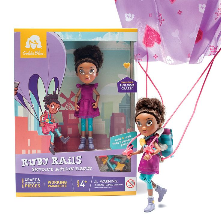 Ruby Rails Skydive Action Figure (Ages 4 ) - STEM toy for girls