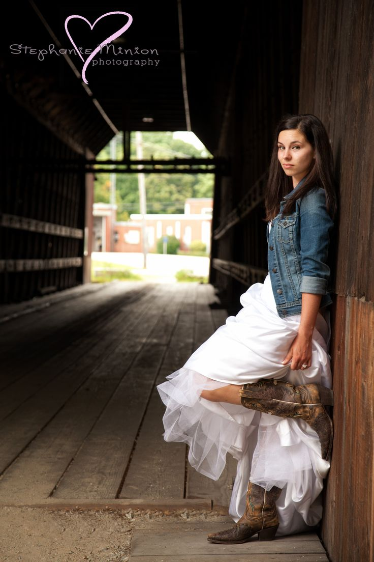 wedding dress, covered bridge, cowboy boots   www.facebook.com/stephanieminionphotography www.stephanieminionphotography.com