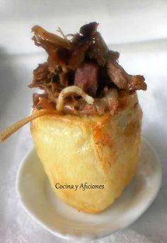 Pincho de patata rellena de ropa vieja